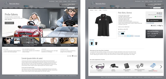 Images of the Website from the Mercedes-Benz Shop